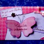 carte de félicitations naissance papillon