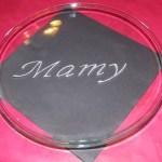 assiette gravure sur verre mamy