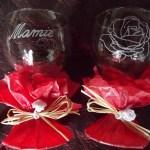 verre à vin gravure sur verre mamie rose