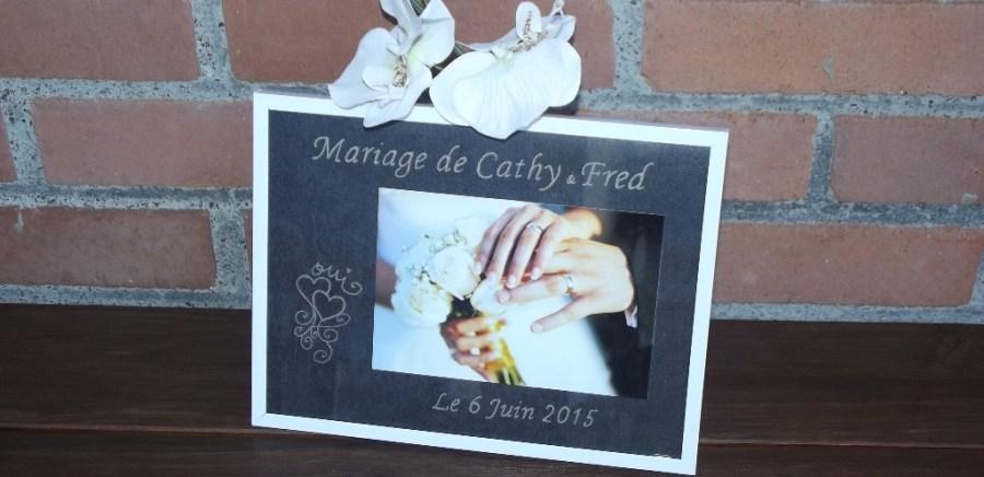 cadre en verre bord blanc gravure mariage