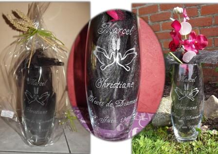 vase gravure noces de diamant 60 ans mariage prénoms et date personnalisés motif colombe blé