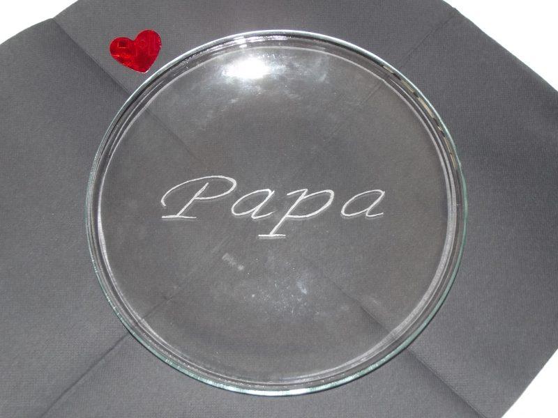 assiette en verre ronde gravure papa prénom personnalisé