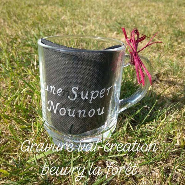 gravure mug tasse en verre gravure texte prénom une super nounou 25 cl