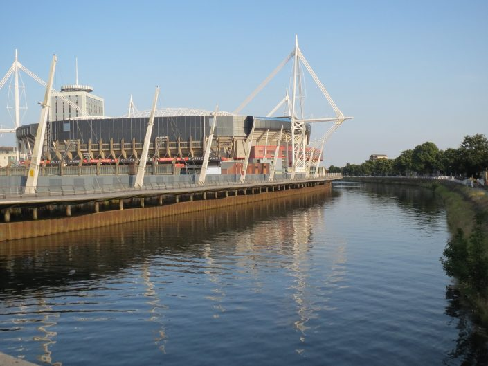 Cardiff stadium by the river