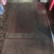 dirty rug in restaurant