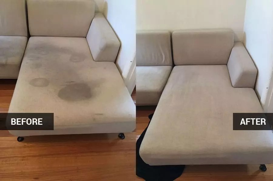 sofa cleaning in Pontypridd before and after clean