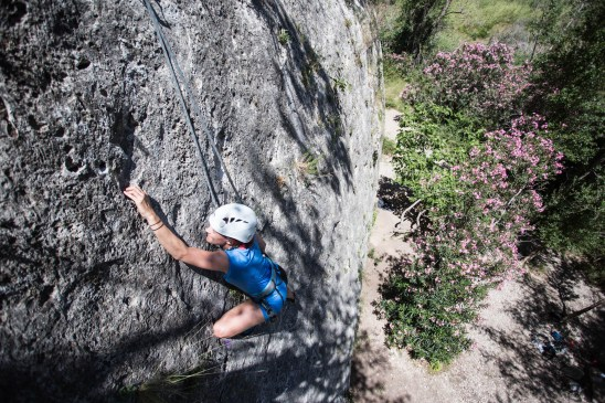 Emily climbing with us in Gestalgar (2017).