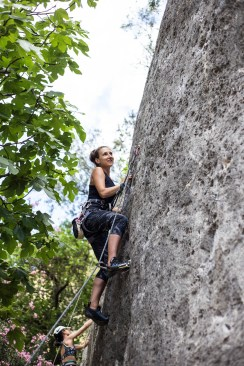 Hani climbing with us in Gestalgar (2017).
