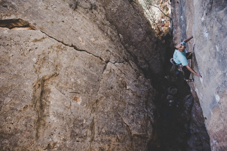Jaume climbing in Olba.