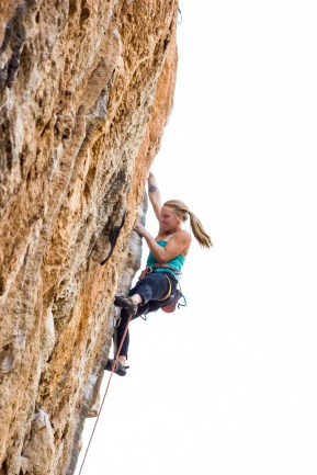 Emily Harrington climbing Montaña Magica (8a+) in the sector Balcon (Chulilla).