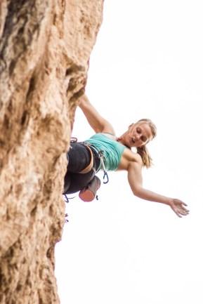 Emily Harrington climbing Montaña Magica (8a+) in the sector Balcon (Chulilla).