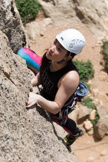 Millie climbing with us in Montesa (2017).