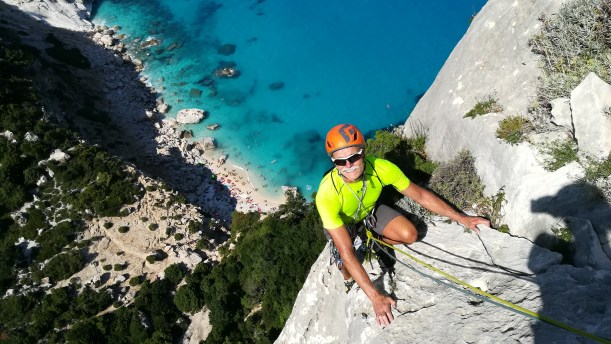 Brent climbing Aguglia Goloritzè, the most beautiful needle in the Mediterranean.