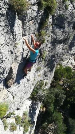 Elisa sport climbing in Buchi Arta.