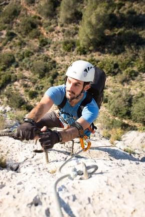 Pablo climbing via ferrata Aventador (90m, K3).