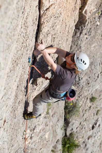 Spencer escalando con nosotros en el Tallat Roig (Alzira, Dic. 2018).