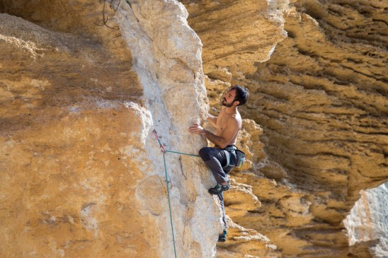 Pablo climbing Rombo di Vento (6c) one of the most beautiful routes in Finale.