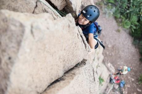 Daniel outdoor climbing in Peñas de Guaita.