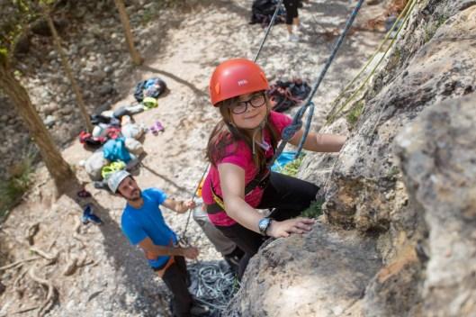 La escalada no tiene edad mínima. Celebrando el cumpleaños de Daniela en Montanejos (Abr. 2018).