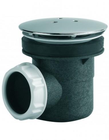 bonde pour receveur de douche d 60 mm capot metal rond sortie horizontale a coller ou jointer nf chrome