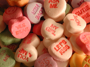 Picture of valentines day candy hearts.