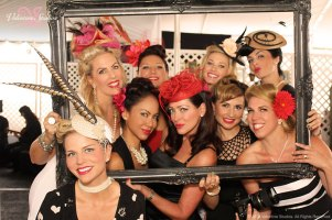 The fashion crew at Haute As Ever 1940's theme fashion show at the Del Mar Race Track summer 2013. Studio Savvy Salon, Mirror Mirror Cosmetics, Jody Lynn Photography and of course Meg Pasetta of Valentine Studios.