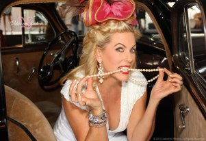 Deena Von Yokes of Studio Savvy playing around at Haute As Ever 1940's theme fashion show at the Del Mar Race Track summer 2013.
