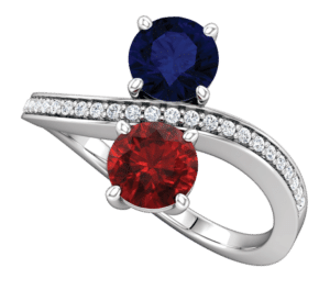2 stone Bypass Ring