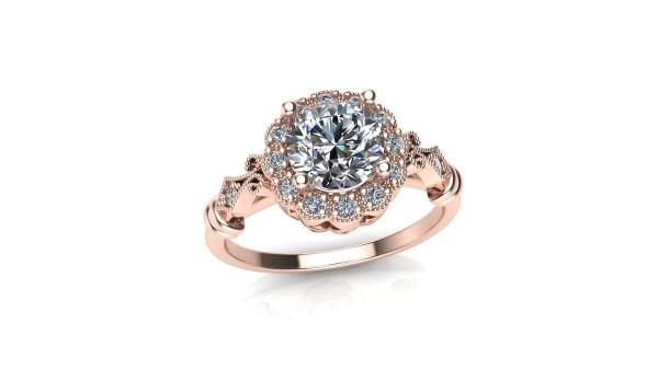Vintage Milgrain Halo Engagement Ring