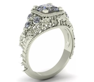 Flower wedding rings