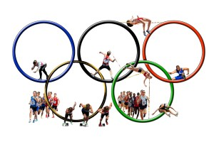 Five rings with sport participants intersperced