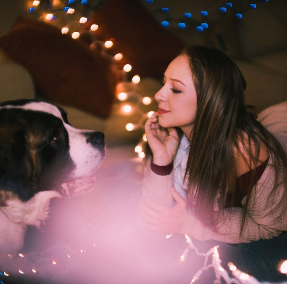 senior girl poses with twinkle lights and dog