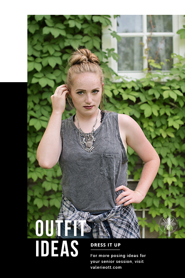 text reads: outfit ideas, dress it up, for more posing ideas for your senior session, visit valerieott.com