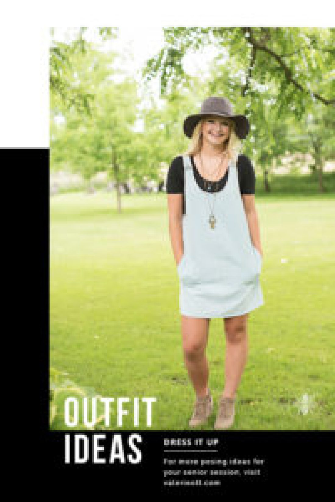 senior girl poses in dress and hat in a field, text reads: outfit ideas, dress it up, for more posing ideas for your senior session, visit valerieott.com