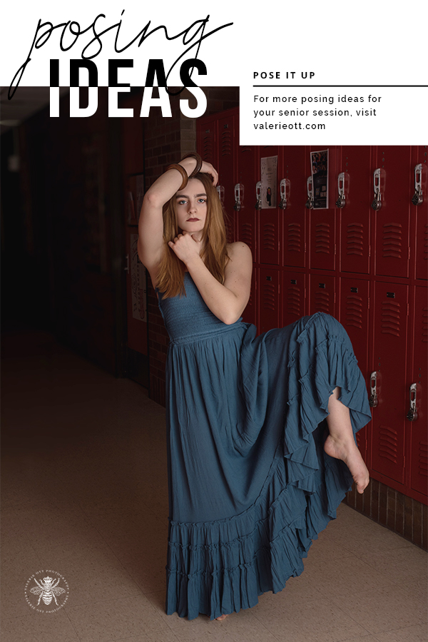 West Michigan senior girl is a dancer and poses in a school hallway surrounded by lockers. She wears a teal dress and is barefoot. Text reads: posing ideas, pose it up, for more posing ideas for your senior session, visit valerieott.com