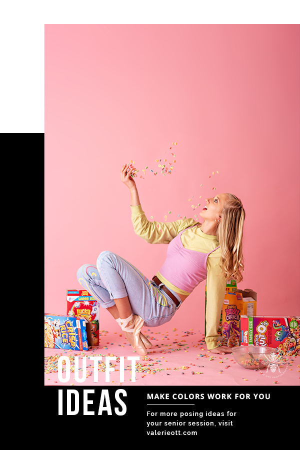 Western Michigan University dancer poses with her ballet pointe shoes and throws cereal in her mouth in front of a pink background. Text reads: Outfit ideas, make colors work for you, for more posing ideas for your senior session, visit valerieott.com