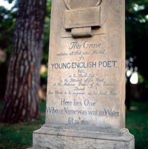 John Keats grave stone in Rome Italy