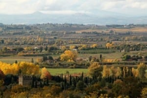 View across Val di Chiana to Monte Amiata hidden by clouds
