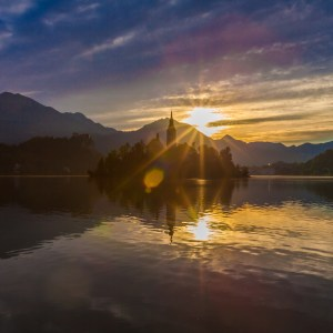 Sunrise landscape at Lake Bled