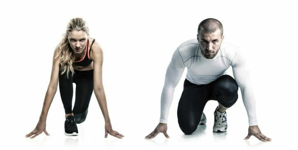 Background image of a man and woman athlete