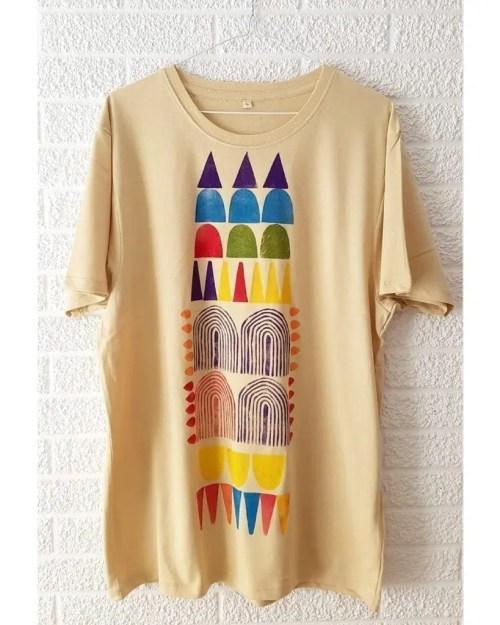 Camisetas de algodon multicolor 3 _ Hand printed organic cotton t-shirts