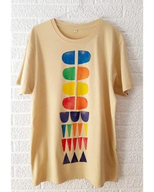 Camisetas de algodon multicolor 5 _ Hand printed organic cotton t-shirts