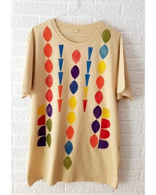 Camisetas de algodon multicolor 6 _ Hand printed organic cotton t-shirts