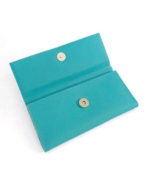 Pitti Vintage carteras de mujer de piel vegana teal - leather wallets for women