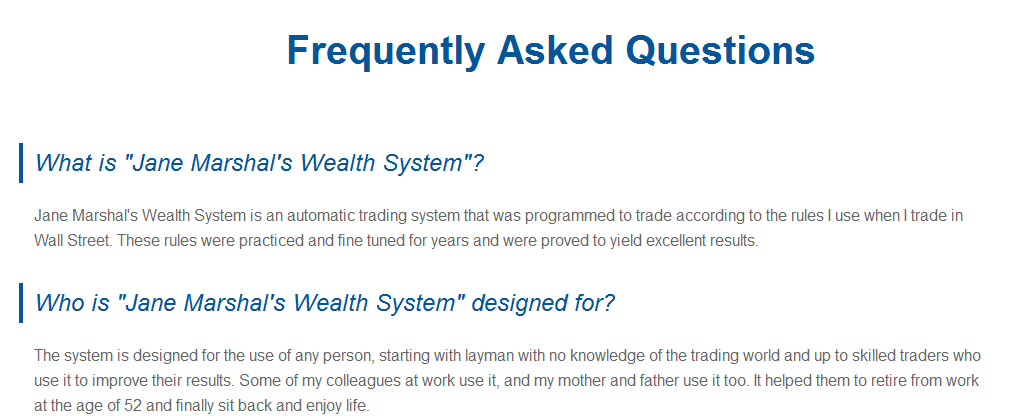 Jane Marshal's Wealth System Scam
