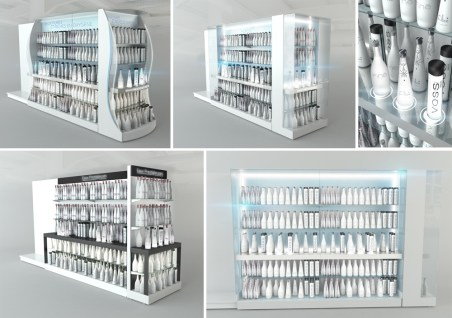 Étude présentoirs eau de luxe par VALIN