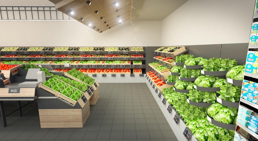 Étude d'agencement pour espace fruits et légumes et produits associés