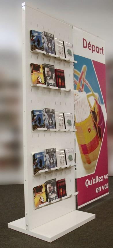 Presentoir communicant pour livres sur tablettes - Conception et fabrication VALIN