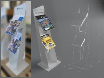 Presentoir porte brochure - Creation et fabrication VALIN - Support porte-revues