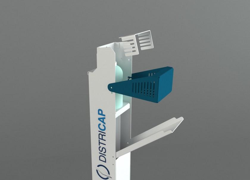 Borne de désinfection des mains DISTRICAP à actionnement par pédale. Borne métallique durable, conçu et fabriqué en France.